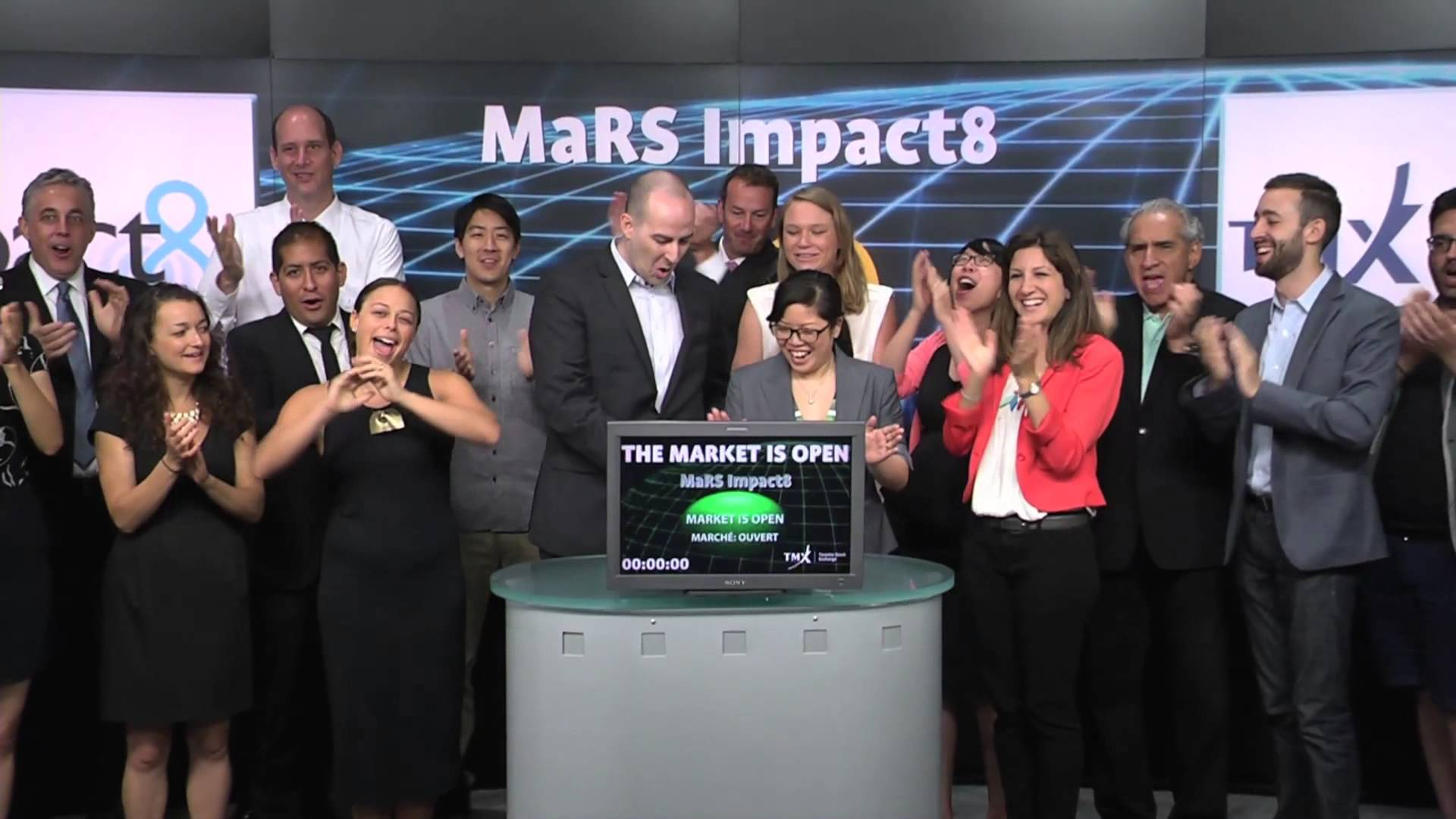 MaRS Impact8 opens Toronto Stock Exchange, June 18, 2014.