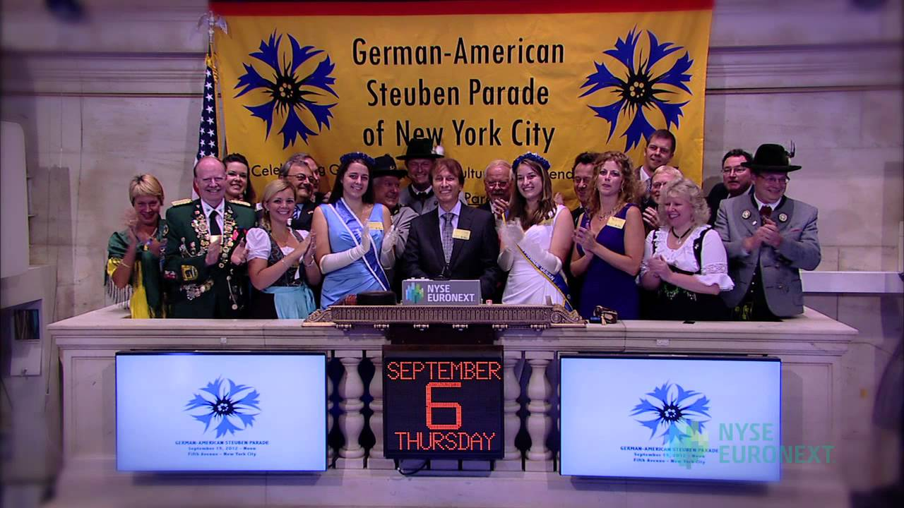 Steuben Parade Visits the New York Stock Exchange rings the NYSE Opening Bell
