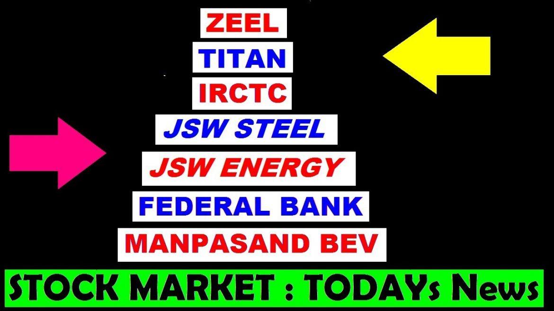 (IRCTC) (Fedral Bank) (Titan) (JSW steel) (JSW energy) (Manpasand) (zeel) stock market news by SMkC