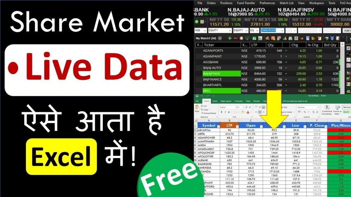 How to get stock market Live Data to Excel ( Free for Lifetime ) in Hindi | Episode-43