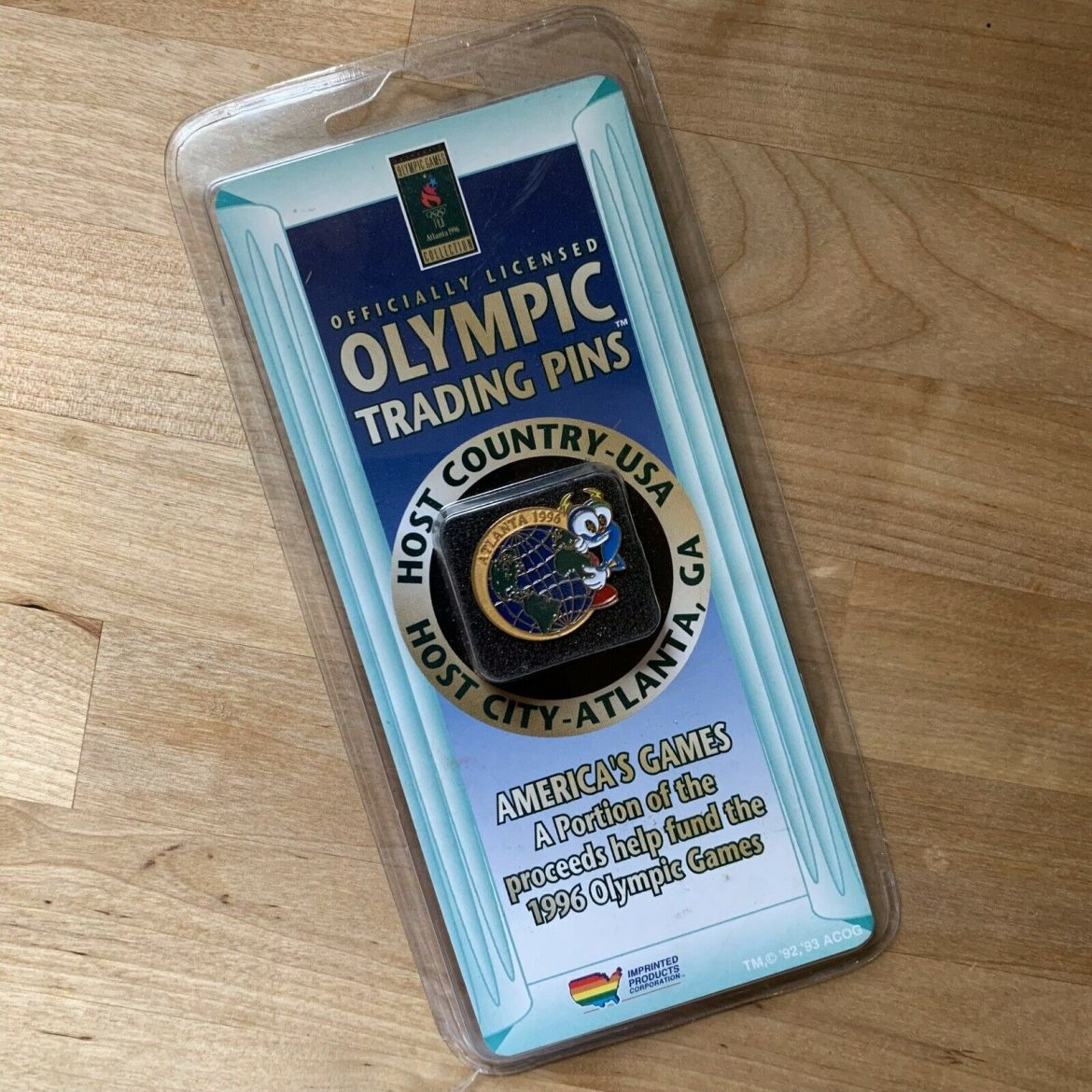 Vtg 1996 Olympics Izzy Trading Collectors Pin New In Package Dead Stock